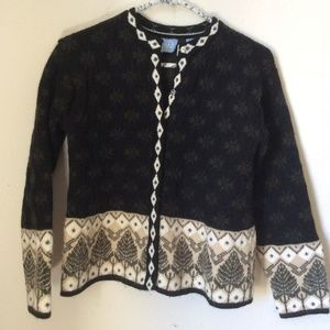 Wool Snap Up Tree Sweater Cardigan FROST